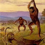early human killing a beast