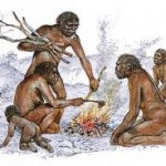 early humans around a fire eating clean fresh food