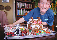 Gingerbread house made by kids
